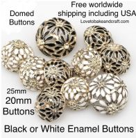 Dome buttons, Black enamel buttons , White buttons. Free worldwide shipping (2) (3) (4) (5) (7)